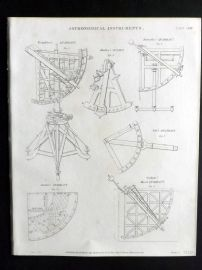 Rees 1820 Antique Print. Astronomical Instruments 23 Quadrant & Octant